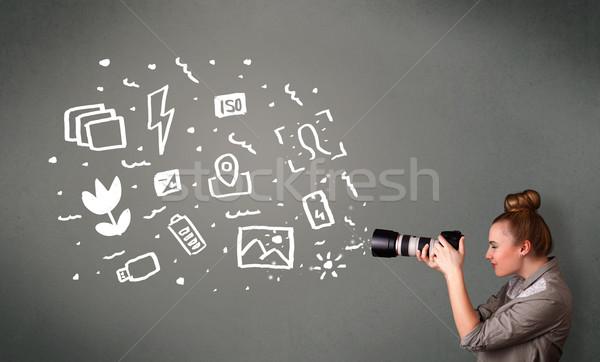 Photographe fille blanche photographie icônes symboles Photo stock © ra2studio