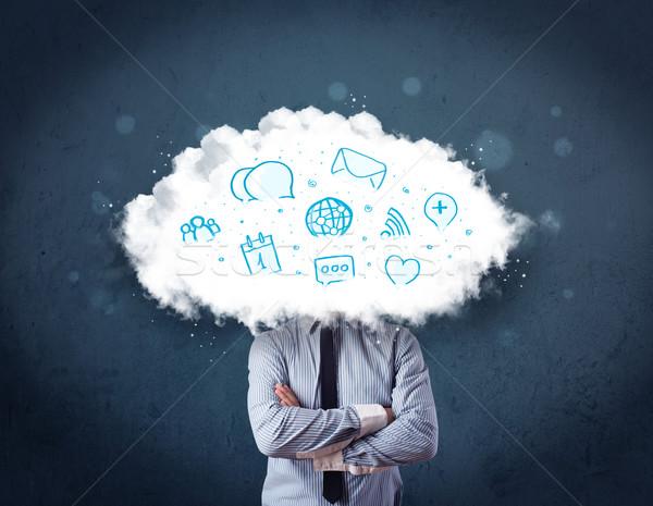 человека костюм облаке голову синий иконки Сток-фото © ra2studio