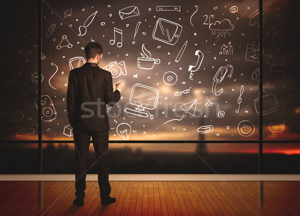 Stock photo: Drawing businessman with social media icon background