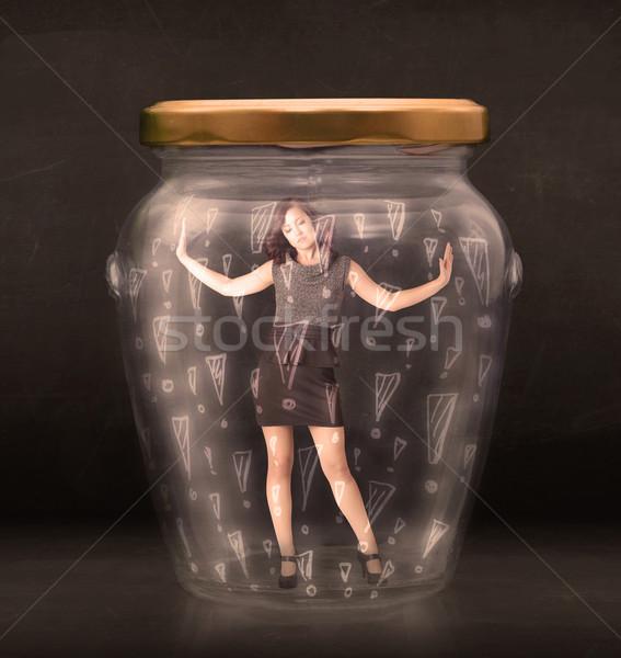Zakenvrouw gevangen jar business glas triest Stockfoto © ra2studio
