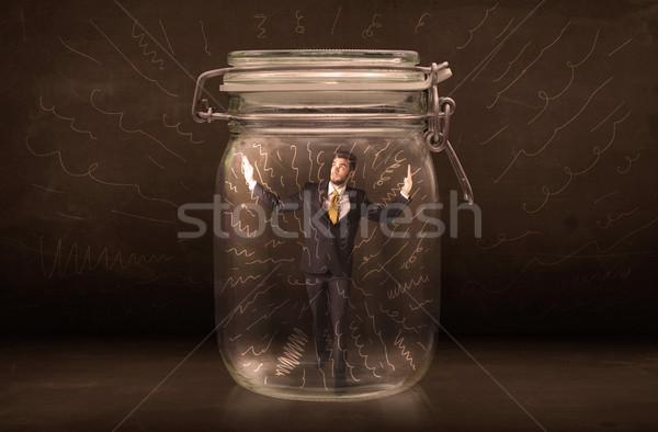 üzletember bent bögre erőteljes kézzel rajzolt vonalak Stock fotó © ra2studio