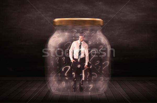 Geschäftsmann verschlossen jar Fragezeichen Business Glas Stock foto © ra2studio