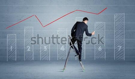 человека рисунок диаграммы лестнице элегантный костюм Сток-фото © ra2studio