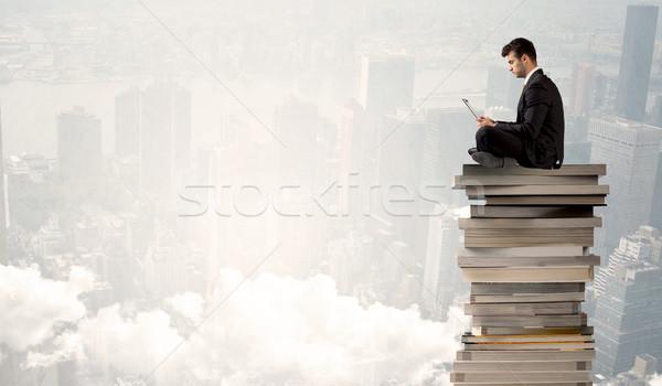 Diák város ül boglya könyvek komoly Stock fotó © ra2studio