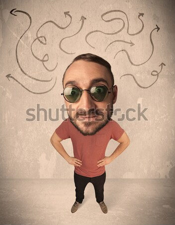 Big head person with arrows Stock photo © ra2studio