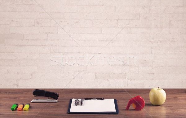 クローズアップ 白 レンガの壁 ビジネス ストックフォト © ra2studio