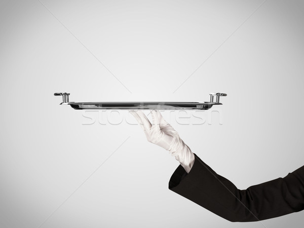 Presentatie plaat stijlvol hand elegante De ober Stockfoto © ra2studio