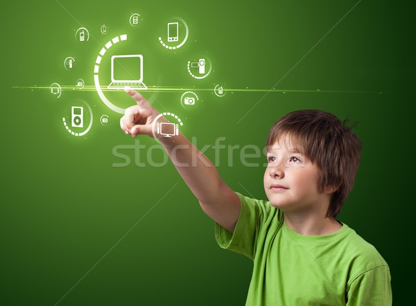 Businessman pressing virtual media type of buttons  Stock photo © ra2studio