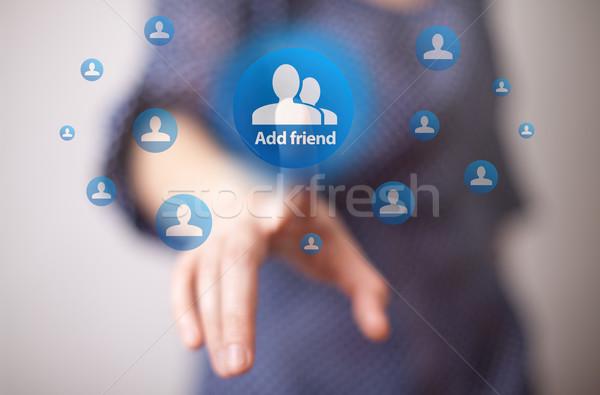 Zdjęcia stock: Strony · przyjaciela · przycisk · kobieta · działalności