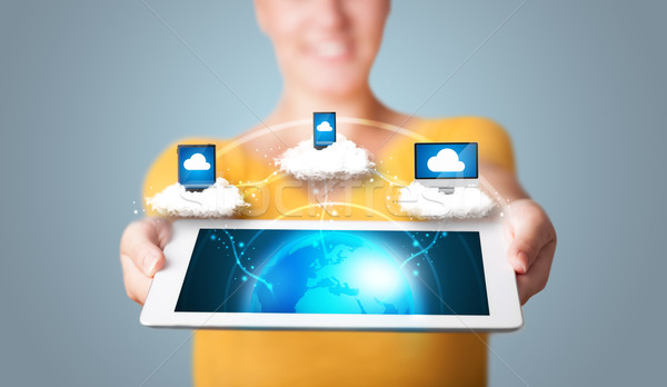 Young woman holding tablet with modern devices Stock photo © ra2studio