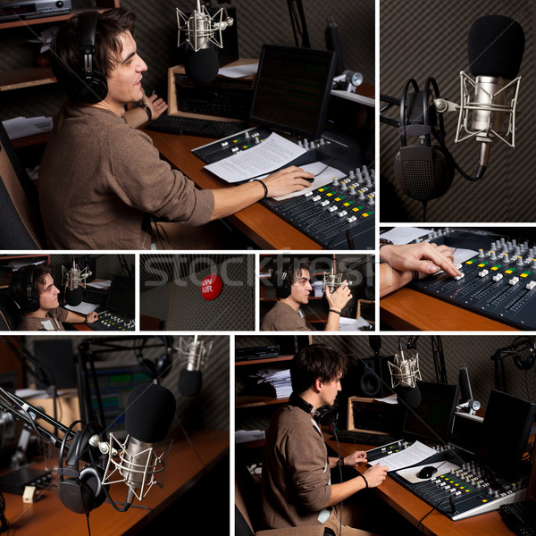 Collection of radio dj man at radio studio  Stock photo © ra2studio