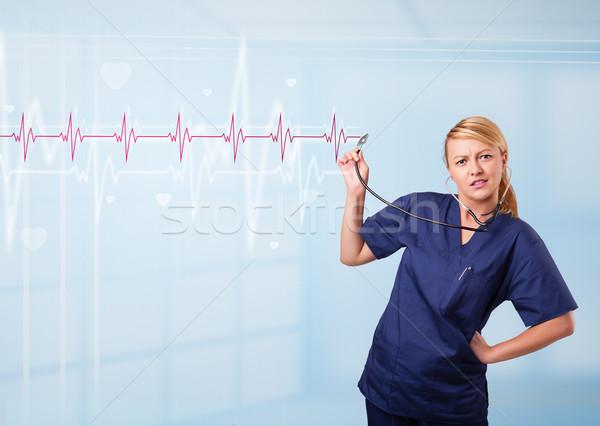 Dość medycznych słuchania czerwony puls serca Zdjęcia stock © ra2studio