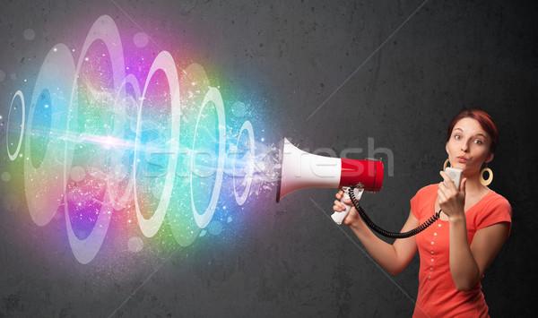 Aranyos fiatal lány hangfal színes energia nyaláb Stock fotó © ra2studio