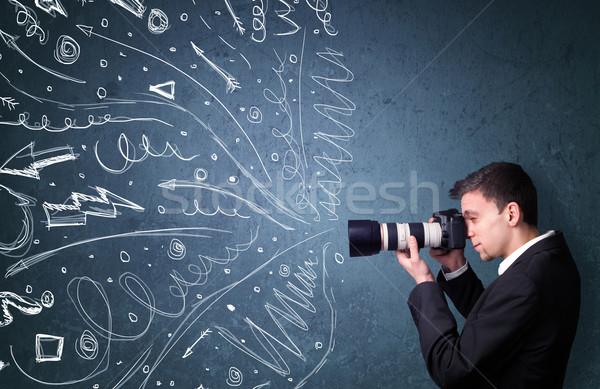 Photographe garçon tir énergique dessinés à la main Photo stock © ra2studio