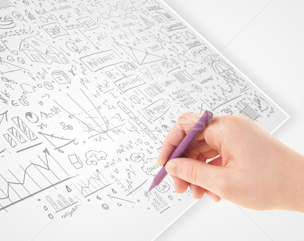 Foto stock: Mão · humana · idéias · branco · papel · múltiplo · mão