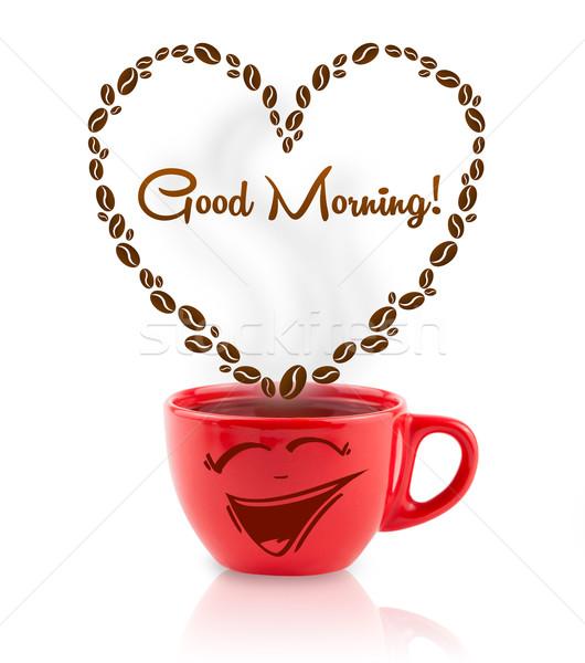 Caneca de café grãos de café coração bom dia assinar Foto stock © ra2studio