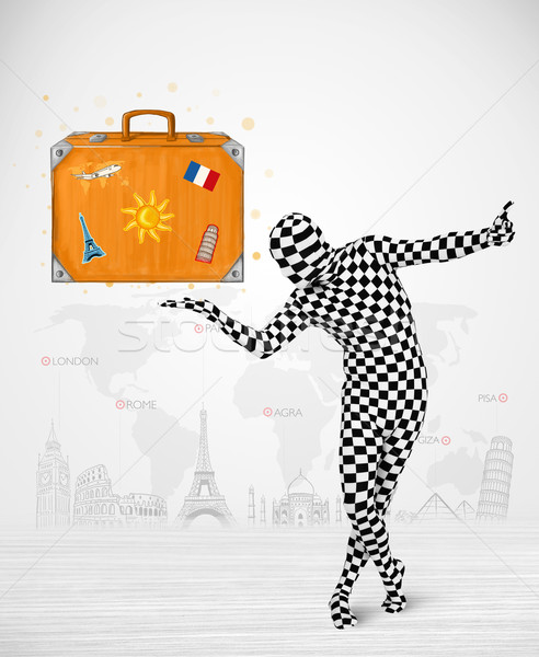 Homme costume vacances valise Photo stock © ra2studio