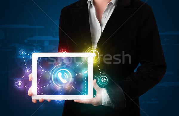 Kadın sosyal ağ teknoloji renkli Stok fotoğraf © ra2studio