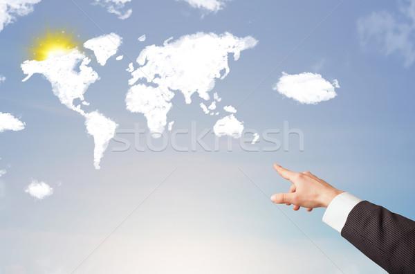 Photo stock: Main · pointant · monde · nuages · soleil · ciel · bleu