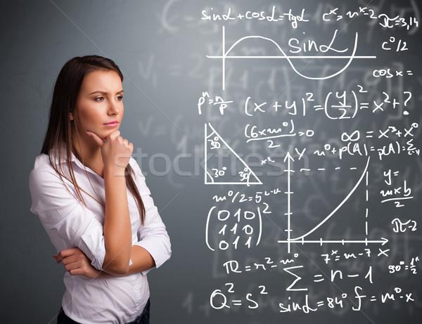 Belo pensando complexo matemático sinais Foto stock © ra2studio