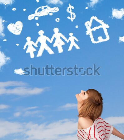 Young girl daydreaming with family and household clouds  Stock photo © ra2studio