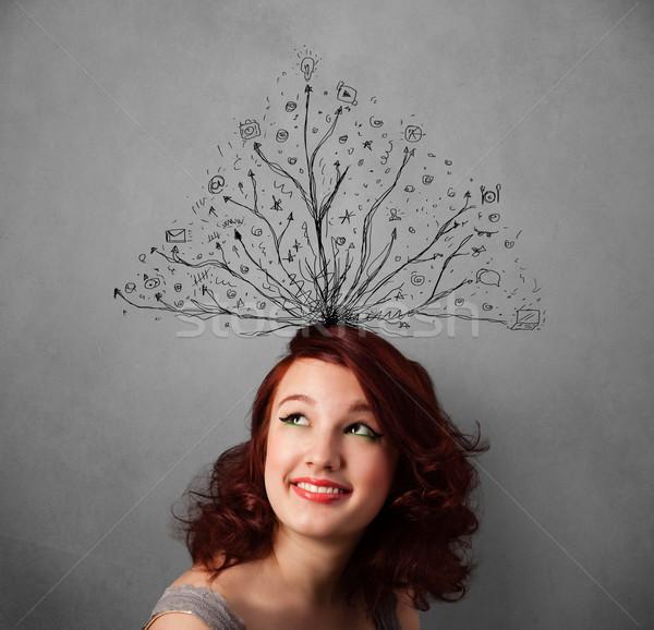 Fiatal nő vonalak ki fej csinos gondolkodik Stock fotó © ra2studio