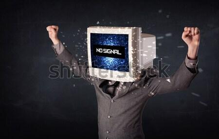 Uomo monitor testa no segnale segno Foto d'archivio © ra2studio