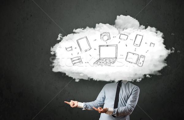 ストックフォト: プロ · ビジネスマン · クラウドネットワーク · 頭 · インターネット · 技術