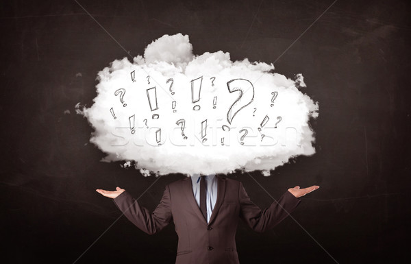 Business man cloud head with question and exclamation marks  Stock fotó © ra2studio