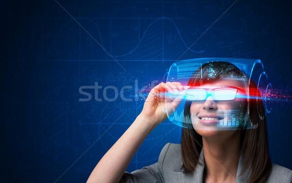 Jövő nő magas tech okos szemüveg Stock fotó © ra2studio
