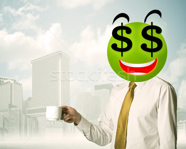 man with dollar sign smiley face Stock photo © ra2studio