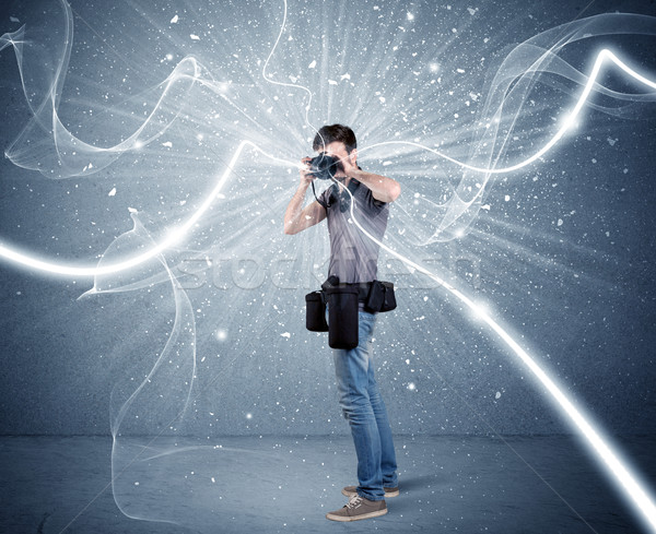 Stockfoto: Professionele · fotograaf · dynamisch · lijnen · jonge · amateur
