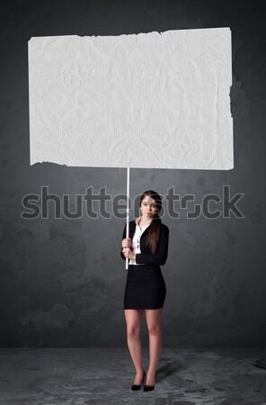 Femme d'affaires livret papier jeunes grand Photo stock © ra2studio