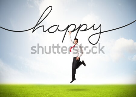 Stockfoto: Opknoping · zakenman · gelukkig · touw · hand · ruimte