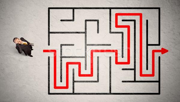 Stracił biznesmen sposób labirynt czerwony arrow Zdjęcia stock © ra2studio