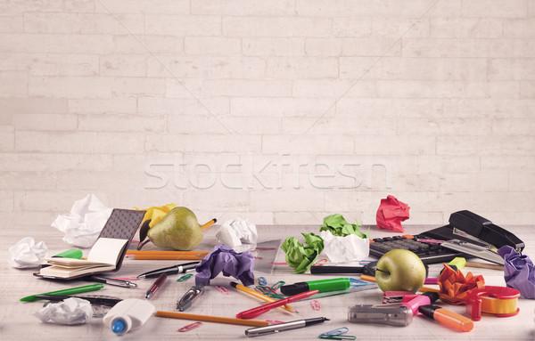 Beyaz tuğla duvar iş Stok fotoğraf © ra2studio