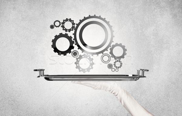 Werken cog wiel dienblad machine geserveerd Stockfoto © ra2studio