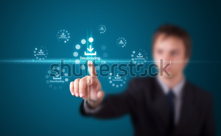Young business woman touching future web technology buttons and  Stock photo © ra2studio
