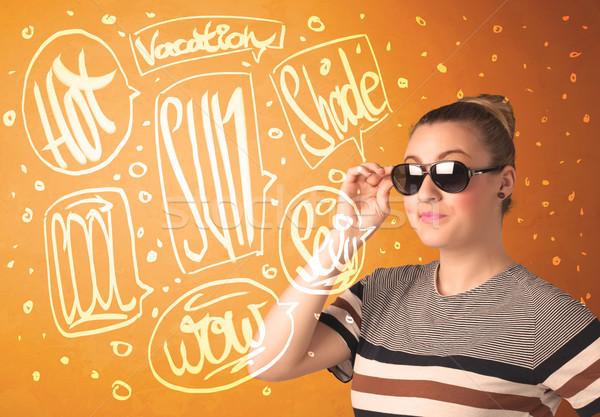 Fresco adolescente verano sol gafas vacaciones Foto stock © ra2studio