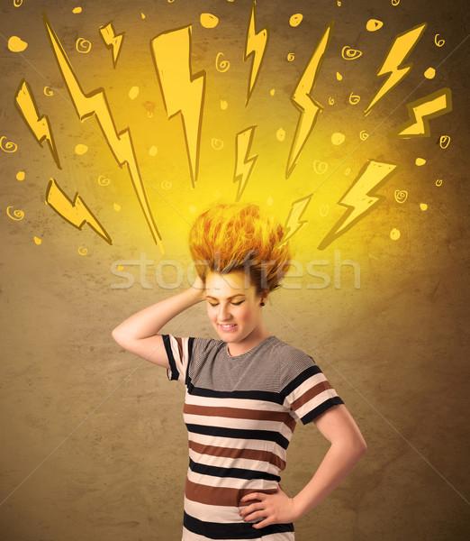 Młoda kobieta fryzura kobieta dziewczyna szczęśliwy Zdjęcia stock © ra2studio