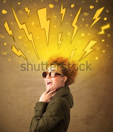 Young woman with hair style and hand drawn lightnings Stock photo © ra2studio