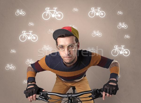 Lunático ciclista bicicleta jovem ridículo Foto stock © ra2studio