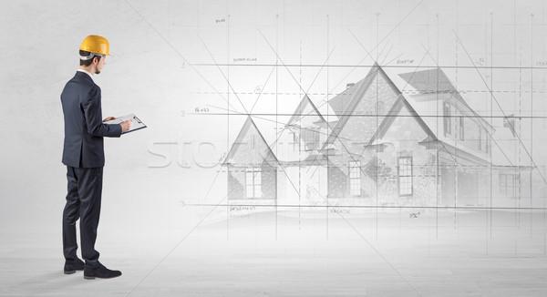 Architekta stałego domu plan oglądania budowy Zdjęcia stock © ra2studio