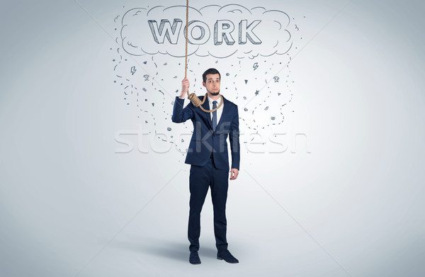 отчаянный бизнесмен самоубийства веревку молодые костюм Сток-фото © ra2studio