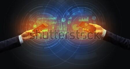 человека глядя будущем слово магия мяча Сток-фото © ra2studio