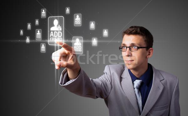 Imprenditore moderno sociale tipo icone Foto d'archivio © ra2studio