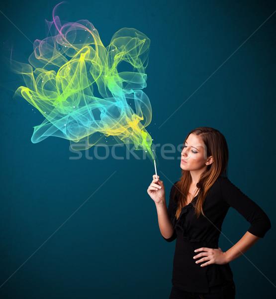 Stok fotoğraf: Güzel · bayan · sigara · içme · sigara · renkli · duman