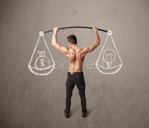 Izmos férfi kiegyensúlyozott erős tornaterem testmozgás Stock fotó © ra2studio