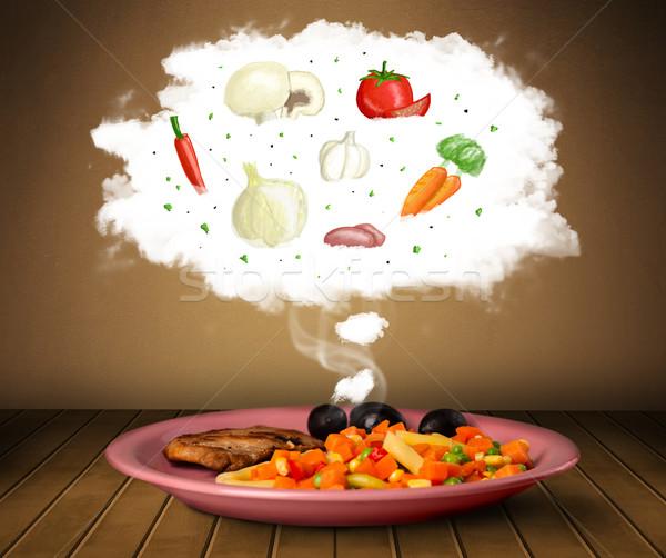 пластина продовольствие растительное Ингредиенты иллюстрация облаке Сток-фото © ra2studio