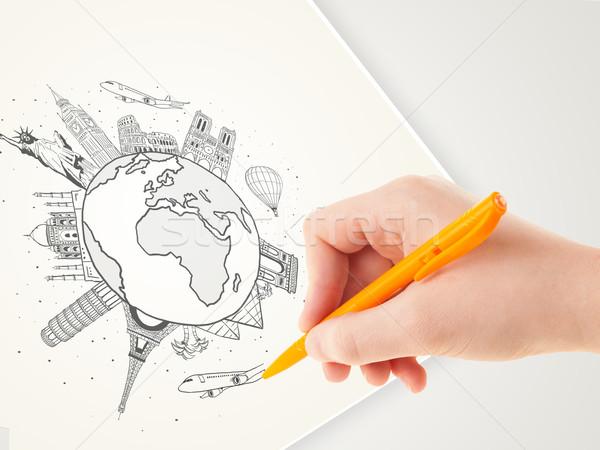 Hand drawing vacation trip around the globe with landmarks and major cities  Stock photo © ra2studio